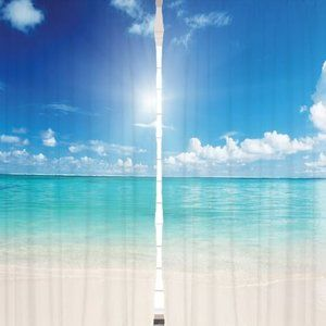 Curtains Calm Beach Horizon Print Backdrop 13955